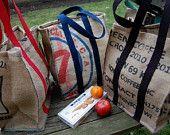 Tote Bag - Reusable Shopping Bag made from recycled coffee bean sacks Coffee Bean Sacks, Coffee Beans, Reusable Shopping Bags, Reusable Tote Bags, Feed Bags, Burlap Bags, Sack Bag, Bag Making, Recycling