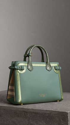 The Medium Banner in Leather with Metallic Python Appliqué in Celadon Blue  - Women  8296e4019ba6d