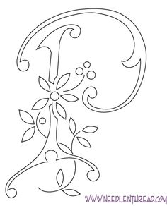 Monograms for Hand Embroidery: Letter P; these are gorgeous and whimsical! could work for embossing or tracing, too!