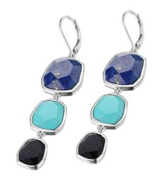 Elle Exuberance collection earrings with Blue Goldstone, Lapis, and R. Turquoise lever back