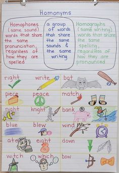 Homonyms Anchor Chart - Great examples to help make meaning for students #languagearts #ELA