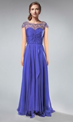 Bateau Neck Lace Cap Sleeves Chiffon And Lace Bridesmaid Dress TBQP303