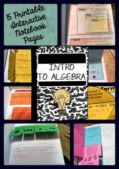 Introduction to Algebra Interactive Notebook Pages {15 interactive pages} Pictures and instructions included for each page! Print, Cut, Paste, Use! ($)