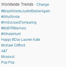 Whatever, just some worldwide #WhaleHunt trending that went on forever, no big deal. From Twitter / TaylahGinger.