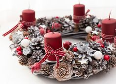 Advent wreath with candles burgundy red by BotanikaStudio on Etsy