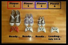 Baby announcement I made. Converse shoes, gamer, remote control, x box 360, player 1 ready, loading.