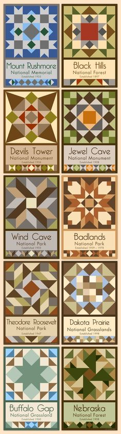 The Dakotas and the Black Hills - We have quilt blocks of more than 75 National Parks and Monuments for sale on our web site. Choose the parks you want, single quilt blocks or sets.