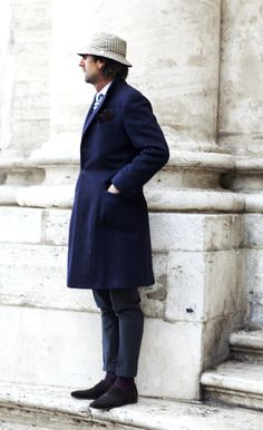 On the Street….Andrea Luparelli, Rome « The Sartorialist The Sartorialist, Rome Street Style, Mens Overcoat, Man About Town, Masculine Style, Cool Jackets, Men's Wardrobe, Men Street, Look Cool