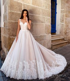crystal design bridal 2016 sleeveless illusion round neckline v neck lace embellished bodice gorgeous princess ball gown wedding dress chapel train (avrora) fv - Dresses - http://amzn.to/2hZGwJq