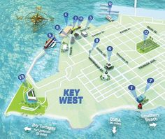 Getting Around Key West - great post with exact locations Cuba Beaches, Florida Beaches, Florida Resorts, Beach Resorts, Florida Vacation, Florida Travel, Florida Trips, Map Of Florida Keys, South Florida