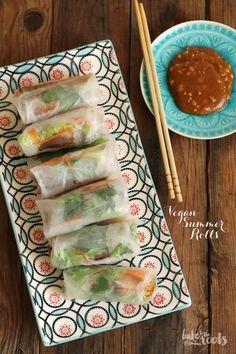Vegan Summer Rolls mit Erdnuss-Dip | Bake to the roots