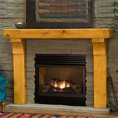 This beautiful timber fireplace #mantel would match any fieldstone hearth or #fireplace surround.  http://www.mantelsdirect.com/timber_mantels.html