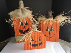 Painted Wood Pumpkin Trio by DsShadyPorch on Etsy, $35.00