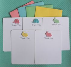 Handmade Personalized Baby Shower Thank You Flat Note 3D Card Set of 10 Pastel Blue Pink Green Yellow with Small White Polka Dots Elephant Bunny