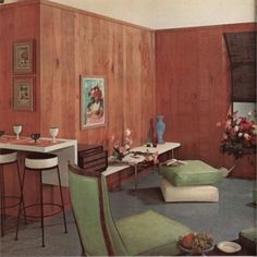 "Tagged ""home decor"" Danish Modern, Mid-century Modern, 1950s Home Decor, Basement Paint Colors, Mcm Furniture, 1950s House, Curved Sofa, Stylish Kitchen, Retro Home"