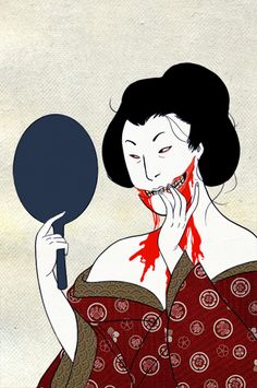 """In Japanese mythology, Kuchisake-onna (""""Slit-Mouth Woman"""") is a woman who is mutilated by a jealous husband and returns as a malicious spirit. Description from flickerlikestars.tumblr.com. I searched for this on bing.com/images"""
