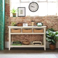 Farmhouse Painted Console Table - Ivory - The Cotswold Company Hallway option Large Console Table, Console Tables, Telephone Table, Vintage Telephone, Modern Country Style, Dining Room Furniture, Country Furniture, White Furniture, Accent Furniture