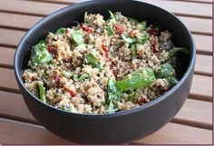 Red and Green Quinoa Salad. Lentils, goat cheese, roasted red peppers, spinach. Yum.