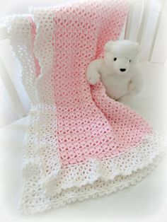 Crochet Baby Blanket Pattern ♥ Cherish Baby Blanket  ♥ Beautiful easy pattern with lace border  ♥ Adorable, fast and easy to make. Appropriate for a beginner or an advanced beginner.  ♥ Change the colors for a baby boy or girl. ♥ Blanket is made with light worsted weight yarn, and uses basic crochet stitches (sc, dc) in American Standard Terms. ♥ Pattern by Deborah O'Leary Patterns