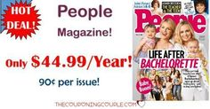 BEST DEAL AROUND! People Magazine for only $44.99 per year! That is only $0.90 per issue! Save over $350 a year off the cover price! What a great gift idea for Mother's Day or Father's Day!  Click the link below to get all of the details ► http://www.thecouponingcouple.com/people-magazine-only-54-99year-reg-399-00/ #Coupons #Couponing #CouponCommunity  Visit us at http://www.thecouponingcouple.com for more great posts!