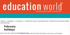 """This is an image from this resource on the Internet4Classrooms' """"Activities for Presidents Day at Internet 4 Classrooms"""" resource page:    Education World's List of Presidents Day List.    Activities, lesson plans, bulletin board display, timeline projects, and research ideas for grades K - 12."""