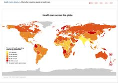Global government healthcare spending. For further details, visit: http://edition.cnn.com/interactive/2009/08/health/map.health.global/index.html