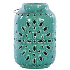 Urban Trends Ceramic Lantern with Metal Handle Gloss Turquoise