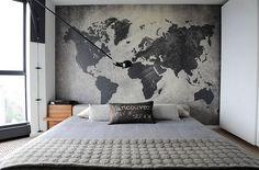 Classic Home Decor Ideas ~ Bedroom Elegant Mens Small Bedroom Decorating Ideas Contemporary Bedroom With World Map Wall Art Behind Masculine Bedroom Interior Ideas For A Small Room Map Bedroom, Home Decor Bedroom, Bedroom Wallpaper, Bedroom Artwork, Interior Wallpaper, Bedroom Apartment, Bedroom Images, Apartment Ideas, Bedroom Loft
