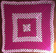 Pink Baby Blanket - Crochet Granny Square