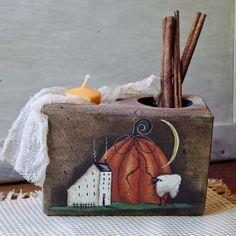 change it up a lil! Arte Country, Pintura Country, Country Crafts, Primitive Candles, Primitive Crafts, Primitive Painting, Painting On Wood, Primitive Autumn, Primitive Christmas