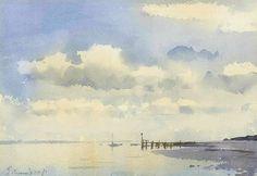 Edward Seago (1910 — 1974, UK)  Low tide. Suffolk's Estuary Coast. watercolour on paper. 10 X 14 in. (25.4 X 35.56 cm.)