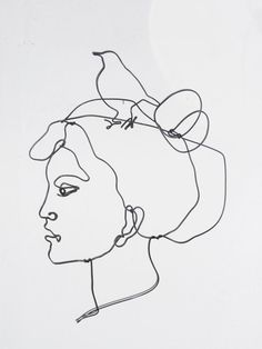 Art wire wall sculpture - Portrait of a young woman with a bird on the top of her head.