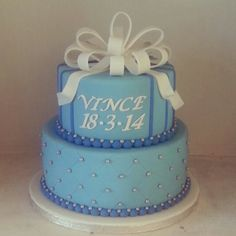 Baby boy cake with a bow