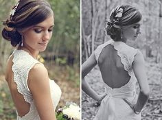 This form-fitted, lace, open back wedding dress is beautiful. Its elegant, formal, feminine, and it has a tasteful amount of sex appeal to make the bride feel beautiful and confident. -SvH