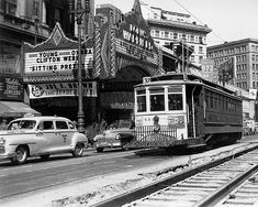 Former Market Street Railway car no. 144 (Muni on Market Street near Street, c. 1948 with Warfield Theatre in the background. Photo is from the Market Street Railway archive. 8 inch print in 11 x 14 inch double matte. Sold without frame. Bay Area Rapid Transit, Historic Philadelphia, San Francisco Travel, Louisville Kentucky, Los Angeles Area, South Bend, Pittsburgh Pa, Architecture Old, Car Photos