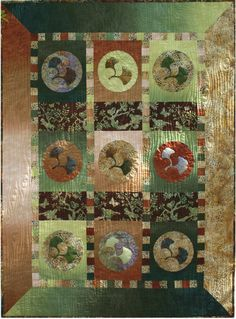 "From This Good Earth, 39 x 52"", quilt pattern with ginkgo applique by Vicki Stratton at Quilting Time"