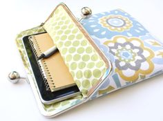 Spring Floral iPad Case or Sleeve with Kisslock Frame - iPad Case or Clutch - Notebook Clutch - Blue, Yellow, Gray Mod Floral Print Canvas