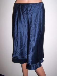YANSI FUGEL NWT Size Med Galaxy Blue 100% Silk Shell Lined Skirt $166 #YansiFugel #StraightPencil