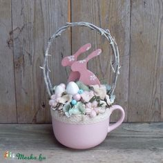 Spring Crafts, Easter Bunny, Spring Time, Diy Tutorial, Shabby Chic, Wreaths, Floral, Tea Cups, Home Decor