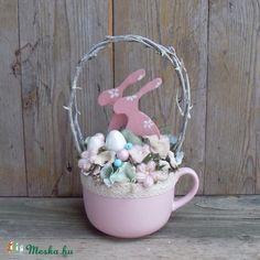 NyuszikÁm - Shabby chic stílusú húsvéti asztaldísz, Dekoráció, Otthon, lakberendezés, Húsvéti apróságok, Dísz, Meska
