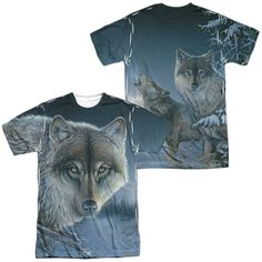 Wild Wings Midnight Wolves White Poly T-Shirt (Front & Back Print)