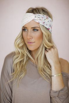 Turban Headband, Lace, Floral Fabric, Twist Cute Hair Bands, Handmade Headbands Purple Floral,Yellow Flower, Ivory Crochet Lace (HB-182) on Etsy, $38.00