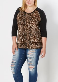 image of Plus Cheetah Baseball Tee