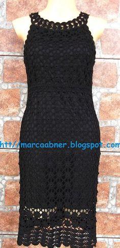 Marcinha crochet: crochet dresses-I want this! Crochet Skirts, Crochet Blouse, Crochet Clothes, Crochet Lace, Knit Dress, Clothing Patterns, Dress Patterns, Crochet Patterns, Prom Dress Shopping