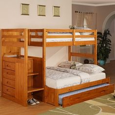 Honey Staircase Bunk Bed Ranch Twin/Full, Price: $797.00
