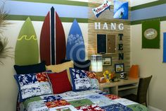 We have this bedding for the kids, still need to decorate their Surf room...