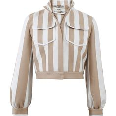 Fendi Striped Cropped Jacket (€1.670) ❤ liked on Polyvore featuring outerwear, jackets, tops, coats, coats & jackets, long cotton jacket, long brown jacket, fendi, slim fit jackets and brown cropped jacket