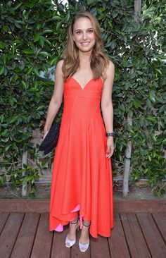 Dress Up Your Summer — 48 Red Carpet Looks to Inspire: Natalie Portman was summery in a bright orange Christian Dior dress at the LA Dance Project's Inaugural Benefit gala in LA.