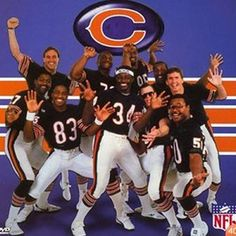 Super Bowl Shuffle -- We're not here to start no trouble, we're just here to do the super bowl shuffle. I remember my mom making cookies with blue and orange food coloring for my elementary school class the year the Bears won the super bowl! 1985 Chicago Bears, Chicago Bears Super Bowl, Super Bowl Shuffle, Bears Football, Football Players, Football Season, Alabama Football, Baseball, Walter Payton