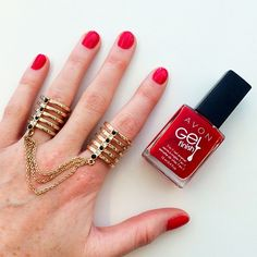 """""""Styling today's bright red #nails with @mark_girl's Ring Me In Double Rings! #manimonday"""" -avoninsider instagram"""